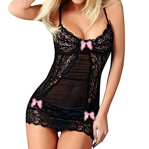 VESNIBA Lencera sexy de malla de encaje ropa de dormir ahuecar ver a travs de la ropa interior transparente camisn con nudo de lazo trasero Babydoll