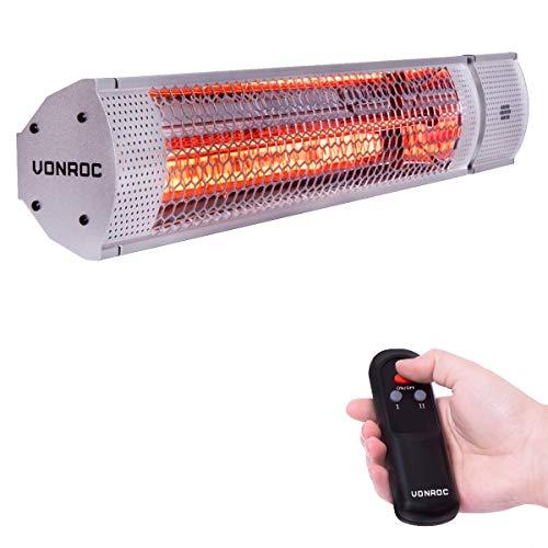 VONROC Calefactor Marsili 2000W - 2 Niveles de Calor - Plata - Elemento de bajo deslumbramiento - con Mando a Distancia