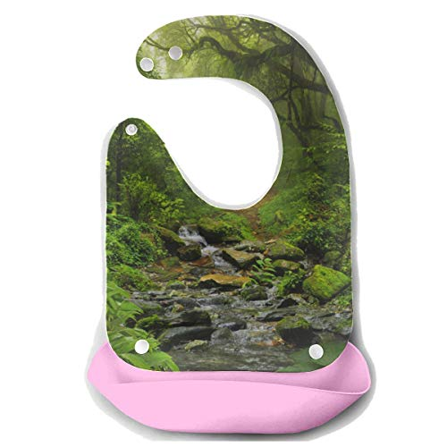 N\A Comer baberos para niñas Amazon Primeval Jungle Delantal de alimentación de silicona desmontable Toalla de ratón Alimentación para bebés Biberón Babero de baba Baberos para bebés Niños peque