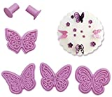 Butterfly Fondant Embossing Mold By Garloy,4Pcs Impression Cookie Cutter Set, Biscuit Molds With Different Patterns Embossed Design For Fondant Cupcake Wedding Cake Decoration