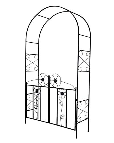 F-XW Garden Arbor with Gate, Metal Arch, Archway Trellis For Climbing Plants Outdoor, 114cm/3.7Ft Wide x 230cm/7.5Ft High