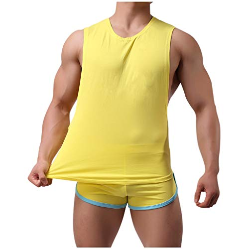 iLOOSKR 2PCS Home Set Men's Summer Comfy Casual Tracksuit T-Shirts Slim Fit Sport T Shirt with Shorts Indoor Suit Yellow