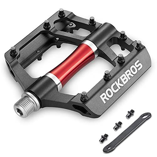 ROCKBROS Fahrradpedale MTB 9/16 Zoll Aluminiumlegierung Pedale Platform Ultraleicht und 3 Abgedichtete Läger für Mountainbikes, Rennräder, Citybikes