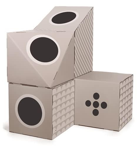51 Degrees North Caja de cartón Makalu para gatos, árbol rascador de cartón, túnel para gatos, juguete ondulado para interior, modular gato gatito XXL