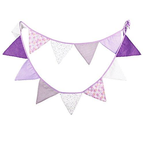 Demarkt 12 guirnaldas de colores para decoración exterior con imágenes de flores, algodón, longitud total 3,2 m, color lila