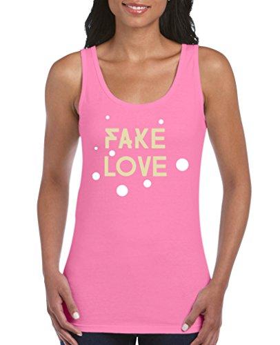 Comedy Shirts - Fake Love - Damen Tank Top - Pink/Beige-Weiss Gr. L