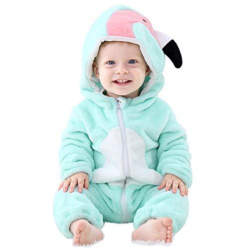 Cooky.D Unisex Baby Strampler mit Kapuze, superweich, Flanell, Herbst/Winter, Neugeborene, Tier-Overall, Schlafanzug, Outfits, 6-12 Monate, mintgrüner Vogel