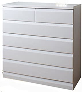 天然木桐チェスト 幅98cm 5段タイプ ホワイト TE-0050