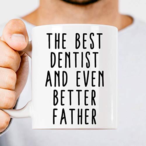 Lplpol - Taza de regalo para el mejor dentista, regalo para el día del padre, regalo de profesión, regalo para el día del padre, profesión, padre, dentista, papá, regalo, blanco, 0,3 l