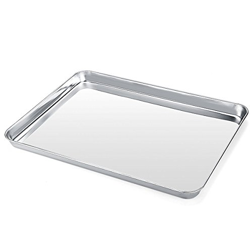 Baking Pans Sheet, 1 Piece Cookie Sheets Stainless Steel Baking Pan for Toaster Oven, Umite Chef Tray Pan, Mirror Finish, Easy Clean, Dishwasher Safe, 9 x 7 x 1 inch