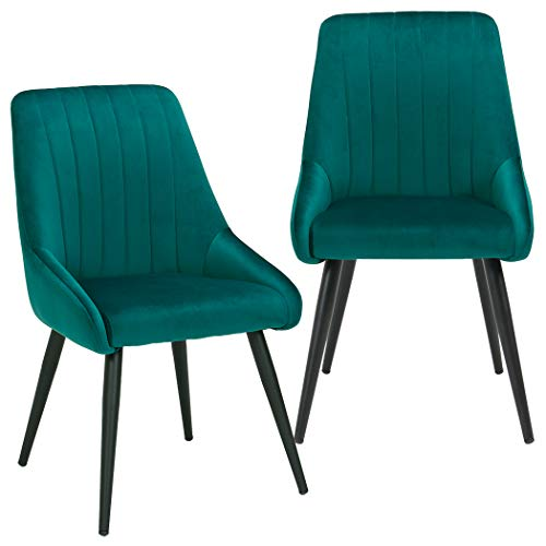 Modern Accent Chairs Mid Century High-Back Velvet Kitchen Dining Chairs Upholstered Tufted Mid-Century Arm Chairs Club Guest Upholstered Chairs Set of 2 for Dining Room,Bedroom Living Room Green