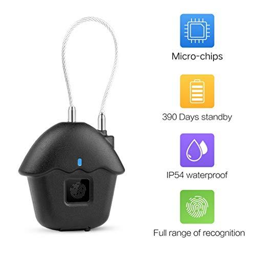 CHshe Mini Elektronische Sicherheitschloss Intelligente Fingerabdrucksperre Schlüsselloses Vorhängeschloss für Tür/Kasten/Laptop Tasche, Wasserdichte/USB-Laden, Fingerabdrücken für Bis zu 10 Benutzer