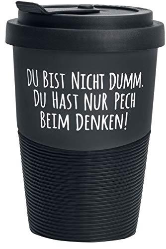 """Pechkeks Kaffee Thermobecher to go Porzellan mit Deckel, Spruch """"Pech beim Denken."""", Größe 300ml, matt schwarz"""