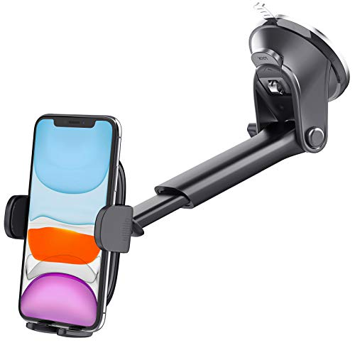 Suction Cup Car Phone Holder Mount, Dashboard Windshield Window Phone Holder for Car with Ultra Sticky Gel Pad, Compatible With iPhone, Samsung, 4-6.8 Inch Cell Phones, Thick Case & Big Phone Friendly