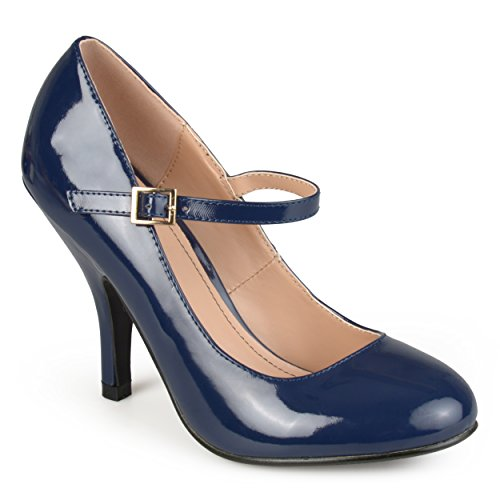 Journee Collection Womens Patent Round Toe Mary Jane Pumps Navy, 9 Regular US