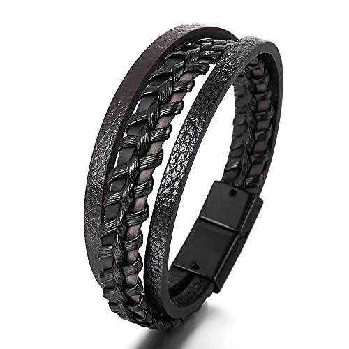 ANTINXUP Armband für Man Rindsleder Imitation Rindsleder Frauen Unisex Manschette Wrap Armband Braun Schwarz Multi-Layer Magnetischer Verschluss Seil Armband