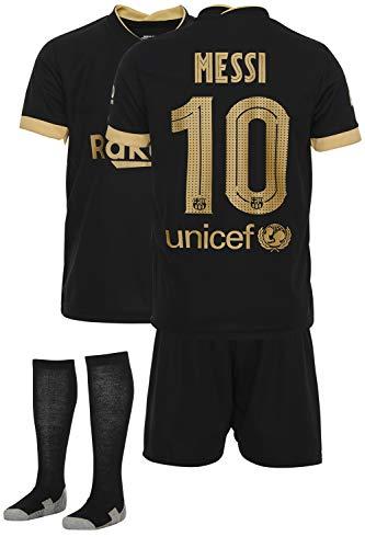 AMD SPORTS Barca Camiseta para niños Messi Viene con Pantalones Cortos y Calcetines, edición visitante Tallas para niños (3-14 años)…… (Messi Away, 128)