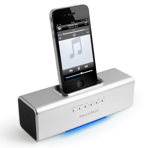 Technaxx MusicMan 3549 - Altavoz portátil con Reproductor de MP3 (Ranura para Tarjeta microSD, estación de Acoplamiento para iPod/iPhone) Plateado