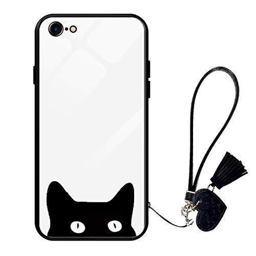 Oihxse Moda Case Compatible para iPhone 6+ Plus/6S+ Plus Funda Vidrio Templado con Cuerda Cordón TPU Silicona Suave Bumper Cover Anti-Choques Anti-Rasguños Cáscara de Cristal Estuche,A4