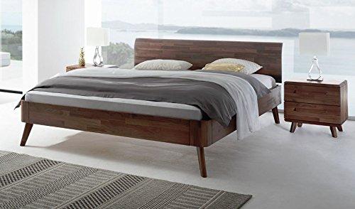 Massivholzbett Nussbaum ? Doppelbett 180x200 ? Bett Nussbaum ? Retro-Bett ? Holz-Bett ? Bett-Gestell ? Bett ohne Matratze und Lattenrost ? Liegebett Holz ? Designer-Bett ? Luxus-Bett