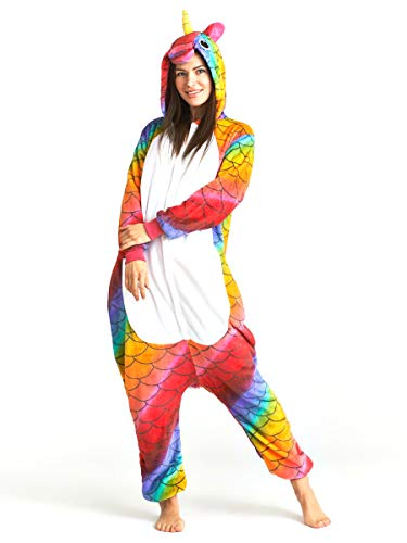 Pijama Animal Unicornio Multicolor Mujer Hombre Adulto Unisexo Disfraces Animal Carnaval Halloween Cosplay Cómodo Suave