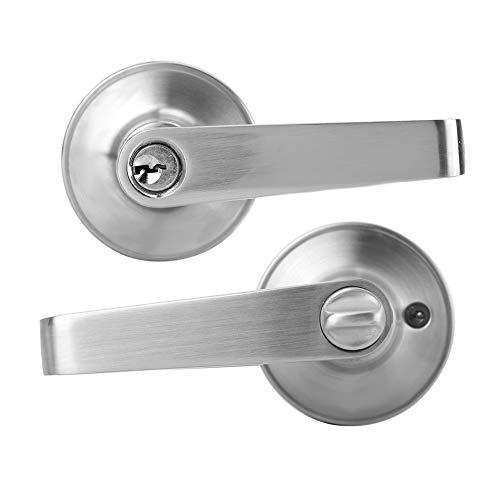 Tirador de puerta, cerradura para tirador de palanca, de aleación de zinc izquierda/derecha abierta, antirrobo, cerradura mecánica redonda para baño en dormitorio
