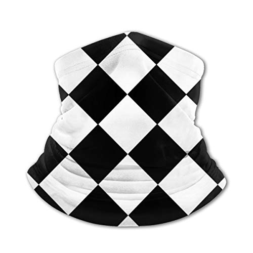 Akhy Multifunctional Headwear Boys Girl Face Mask Headband Neck Gaiter Black White Diamonds Chessboard Balaclava for Teens