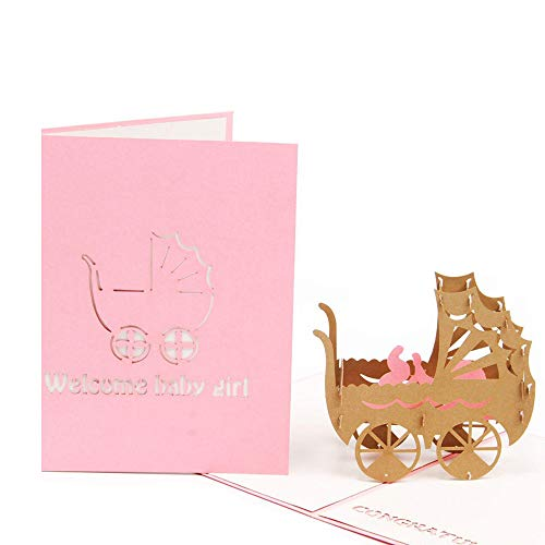 HUNGER Handmade 3D Pop Up Congrats Greeting Cards for Newborn Babies Gifts New Parents (Baby Girl)