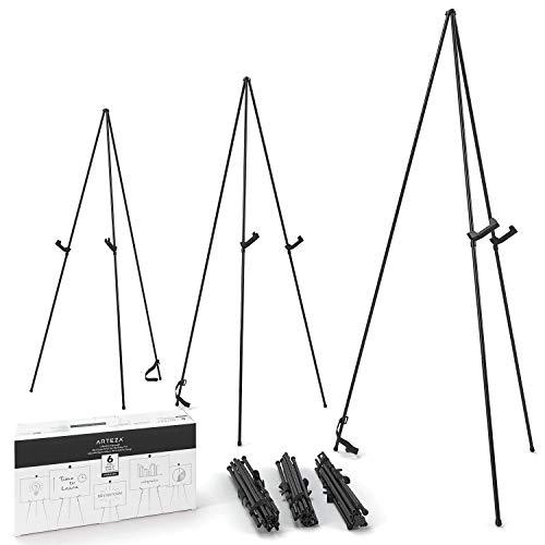 ARTEZA Caballete expositor metálico | Altura 160 cm | Pack de 6 | Acero negro | Atril portátil | Fácil de montar | Ideal para presentaciones comerciales, carteles, exhibiciones y lienzos