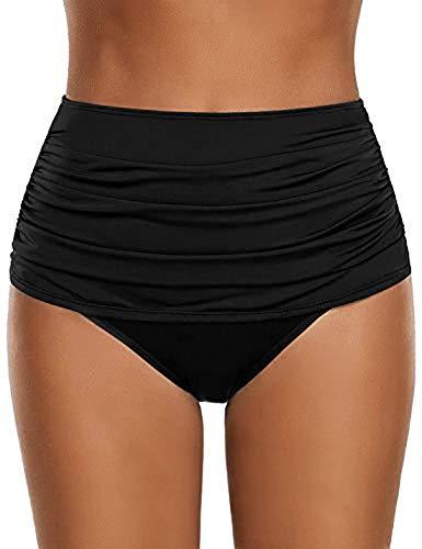 Viloree Damen hoher Taille Bikini Hose Bottom Schwimmen Slip Bauchweg Schwarz M