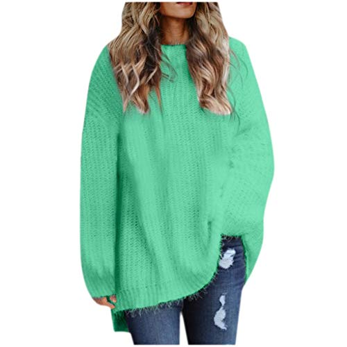 NANTE Top Women's Blouse Solid Loose Sweatshirts Long Sleeve O-Neck Sweater Winter Warm Blouses Womens Plus Size Clothing Tops (Green, XXXL)
