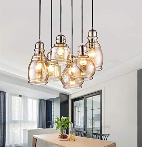 CLJ QWER Iluminación Colgante de Techo para Accesorio de Isla de Cocina Negro, lámpara Colgante de araña con 6 Pantallas de Vidrio ámbar para Barra de Comedor