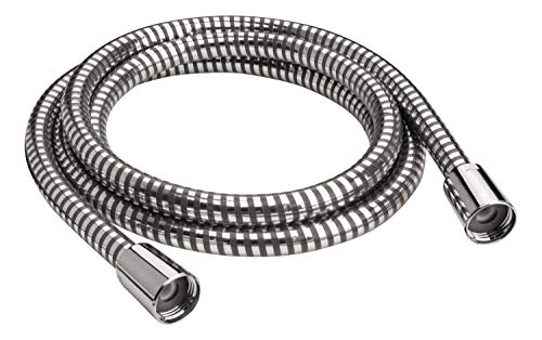 'aquaSu® Brauseschlauch Antala | 150 cm Länge | mit Knickschutz | zugfest | Standard-Anschluss in 1/2 | mit 2 x Konus | chrom-schwarz | aus Kunststoff | Duschschlauch 1,5 m | 72309 1