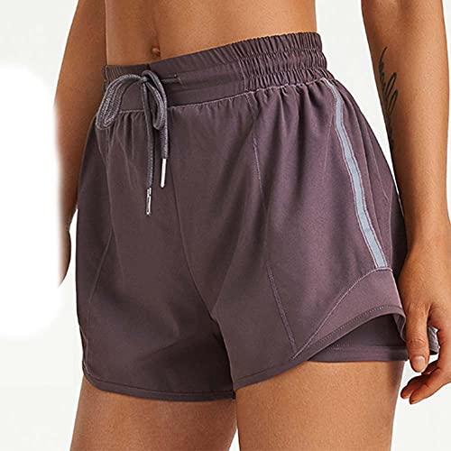 TTIK Pantalones Yoga Shorts 2 en 1 para Mujer con Bolsillo con Cremallera Cordón Fitness Maratón Cortos de Running