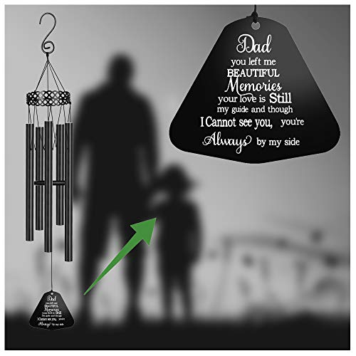 MEMGIFT Memorial Wind Chimes for Loss of Father Sympathy Gifts Loss of Dad Papa Rememberance Large Angel Windchimes Outside Indoor Garden Home Déco