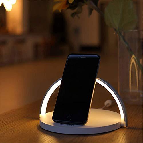 LHZTZKA LED Smart tafellamp, met Qi draadloze bureaulamp voor LED Home Decor met Qi Wireless mobiele telefoon oplader voor iPhone 10W snellader voor Samsung S9 S8 Huawei P30 Pro ect