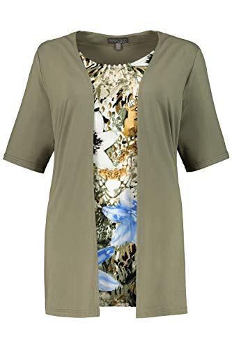 Ulla Popken Damen große Größen 2-in-1-Shirt, Patch-Design, Langer Halbarm, Selection naturgrün 54/56 747601 45-54+