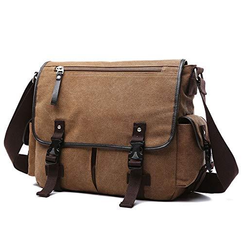 Yi-xir Diseño de moda vintage de los hombres maletines de hombro bolsa de viaje cruzada bolsa de lona casual bolsa de mensajero de retazos multifunción portátil ligero y duradero (color: marrón plus)