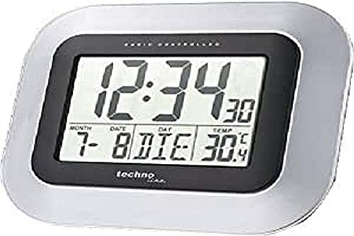 Technoline WS 8005 Radio Controlled Wall Clock Black,Silver - Alarm Clocks (228 x 28 x 180 mm, AA, Black, Silver)