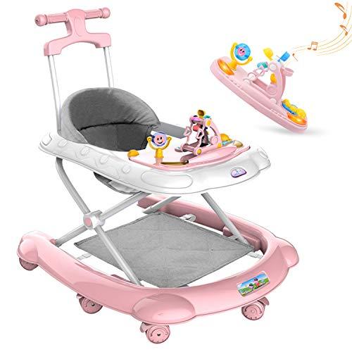 AJAMQ Lauflernhilfe Baby Gehhilfe Laufhilfe 6/7-18 Monate Männliche Jungen Mädchen Kind Push, Kann Anti-O-Bein-Rollover Sitzen Multifunktions Einstellbare Faltbare Reinigbar,Rosa