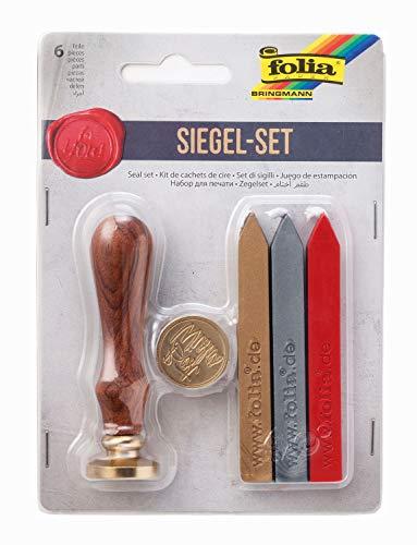 folia 31019 - Siegel Set mit zwei Siegelmotiven, einem Holzgriff und Siegelwachs in 3 Farben, zum stilechten Verzieren von Karten und Einladungen