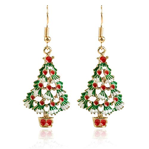 Ogquaton Women Christmas Tree Earings Dangle Earring Party Jewelry