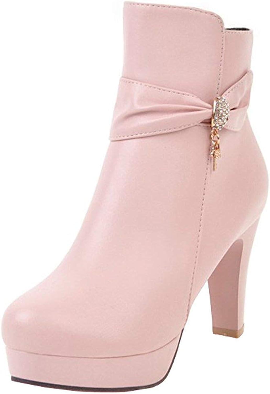 Ghssheh Women's Elegant Rhinestone Belt Chunky High Heel Bridal Ankle Booties Round Toe Side Zipper Short Boots Pink 4.5 M US