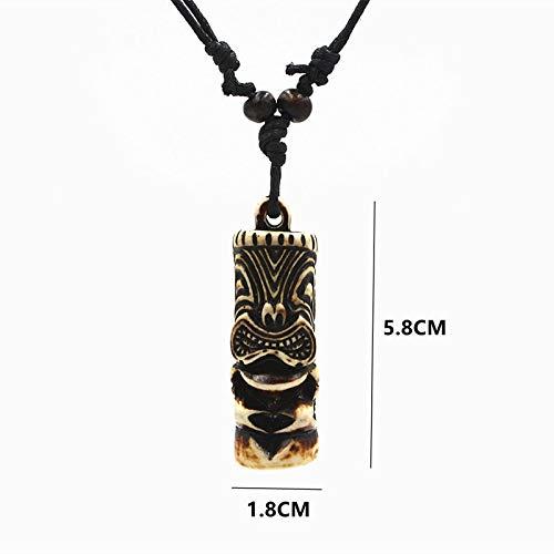 Collar Tiki De Dedo De Árbol para Hombre, Collar con Colgante De Estatua Tiki, Joyería De Hueso De Imitación