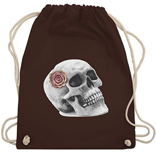 Halloween - Totenkopf Rose Vintage Skull - Unisize - Braun - totenkopf handtasche - WM110 - Turnbeutel und Stoffbeutel aus Baumwolle