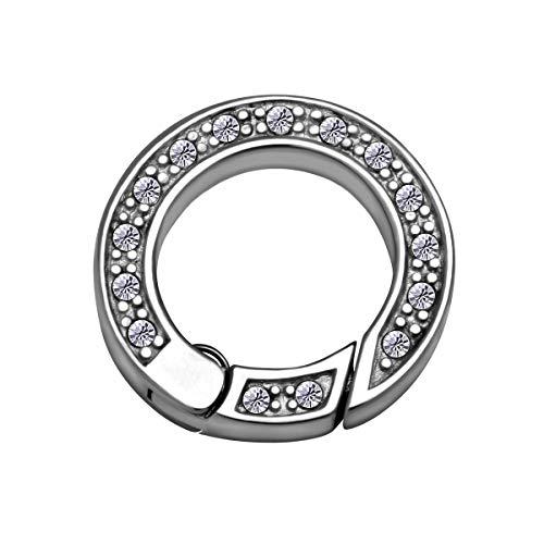 Quiges Clip Ring Carrier Silber 17 mm Edelstahl Verbindungsring für Kette und Coin Anhänger mit Kristall Zirkonia