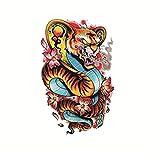 YLGG Etiquetas engomadas temporales del Tatuaje de la Moda de la Serpiente con Cabeza de Tigre, adecuadas para Hombres y Mujeres, Impermeables, extraíbles