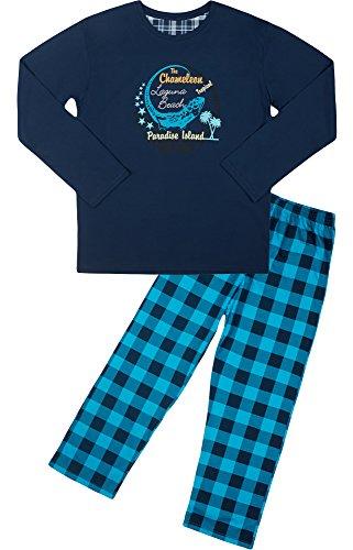Cornette Jungen Pyjama CR-553-Young(Marineblau/Türkis (Chameleon1), 182/L)