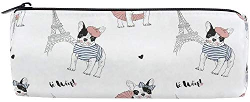 Pen Case Stationary French Pattern Bulldog Pencil Bags Round Portable Pouch for School Kids Children Cosmetic Bag Makeup Beauty Case
