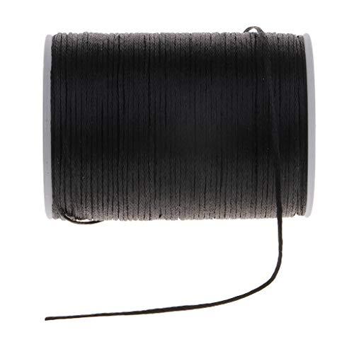 Baoblaze Hilo de Poliéster Encerado Plano de 0.8mm Cordón para Coser Joyería DIY - Negro